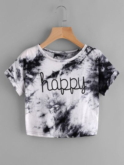 bcb00b613b Shop Water Color Letter Print Tee online. SheIn offers Water Color Letter  Print Tee & more to fit your fashionable needs.