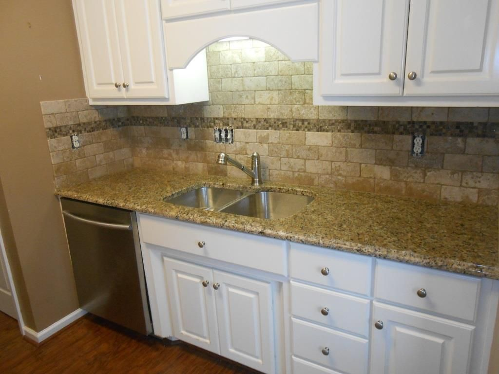 Kitchen Backsplash Edge new venetian gold granite counter tops-ogee edge-3x6 walnut