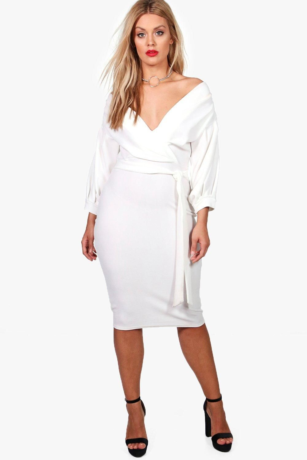 lace up in release date: official price Plus Off The Shoulder Wrap Midi Dress | Boohoo | Clothing ...