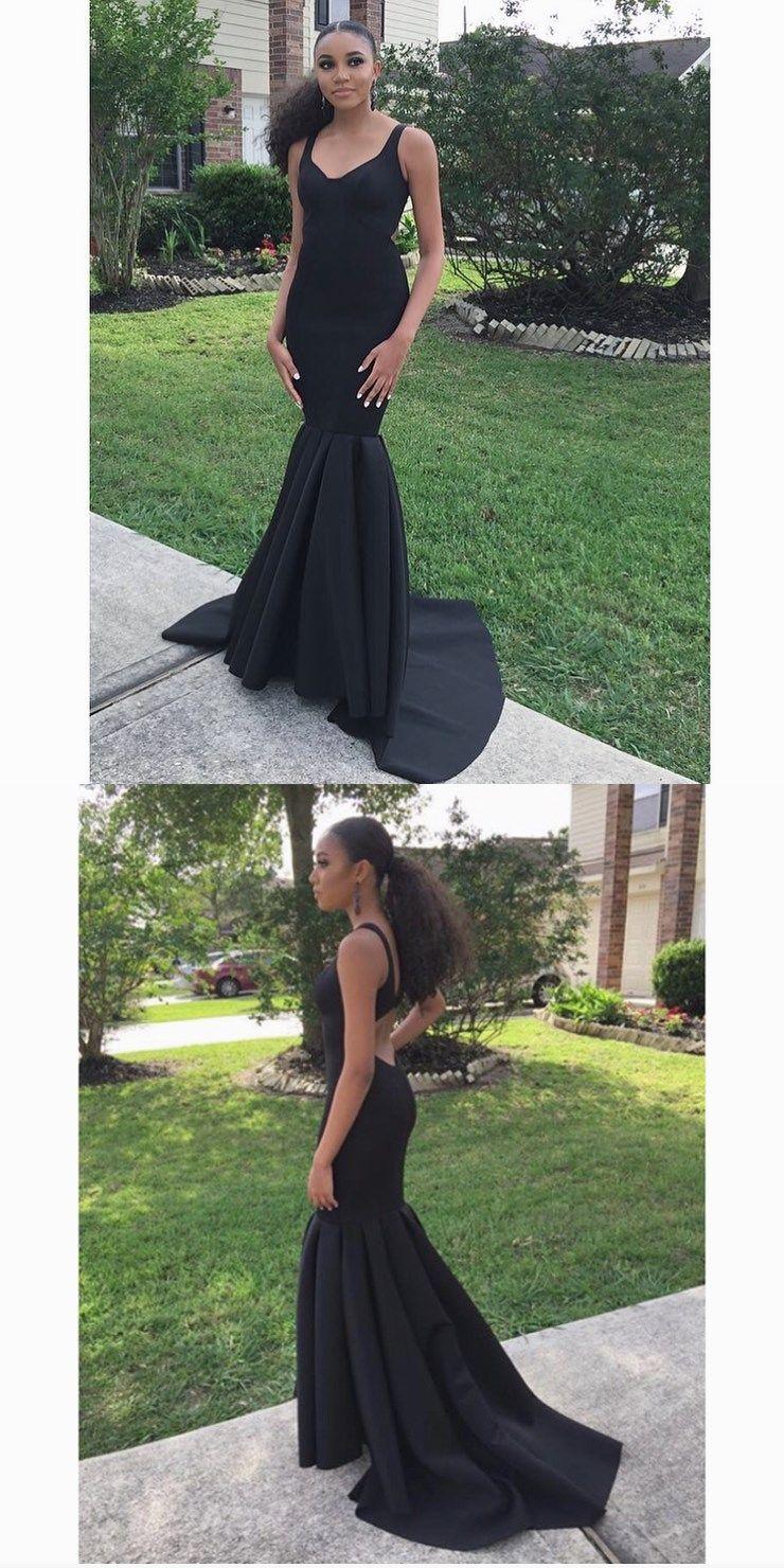 Elegant mermaid black long prom dress evening dress prom dresses