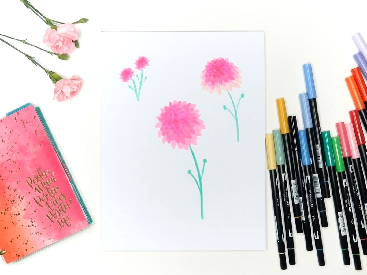 6 Easy Flowers To Draw With Tombow Markers Flower Drawing