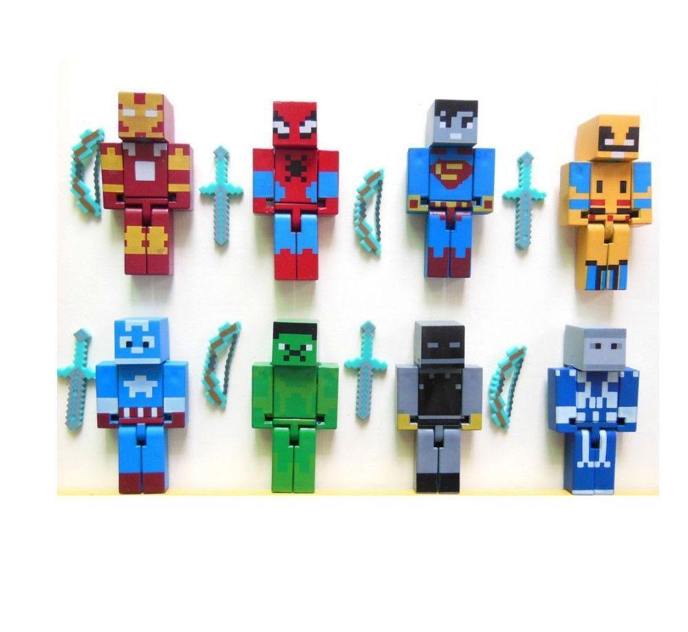 10Pcs Minecraft Series 3 Hangers Collec Kids Toys Mini Action Figures Keychains