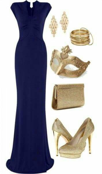 Navy Blue Floor Length Gown With Gold Accessories Fashion