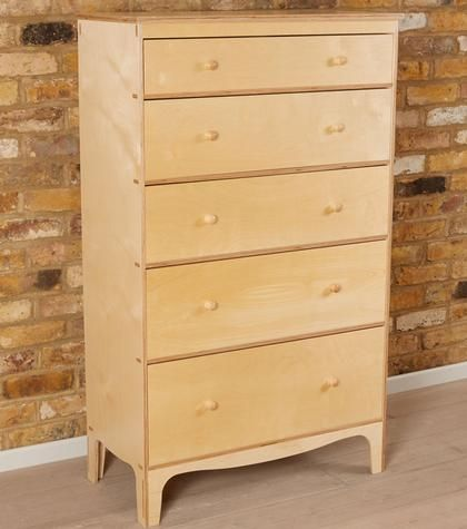 Bedroom Furniture > Chests of Drawers > 5 Drawer Modern Chest - Wooden Knobs | Warren Evans