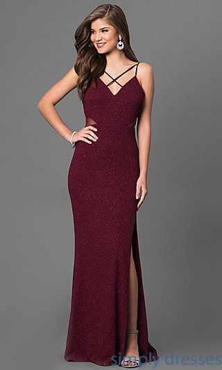 Metallic-Print Burgundy Red Junior Long Prom Dress | Kleidung