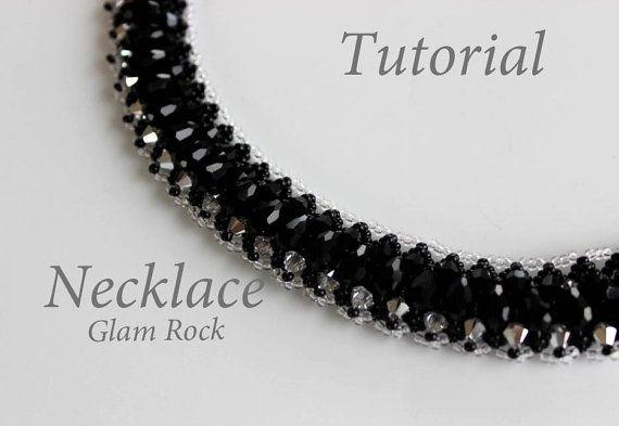 PDF tutorial beaded necklace Glam Rock_ seed beads_crystals_Swarovski beads_beadweaving_pattern
