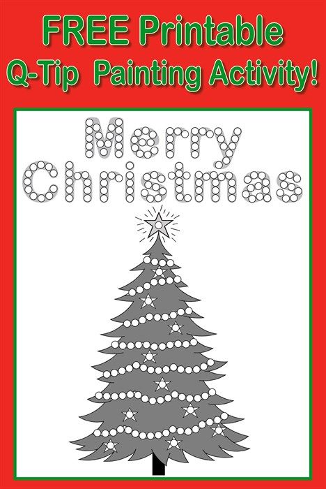 Q Tips Are Great For Small Hands And Easier Than Traditional Paintbrushes To Handle This Christmas Q Tip Painting Christmas Tree Painting Christmas Worksheets