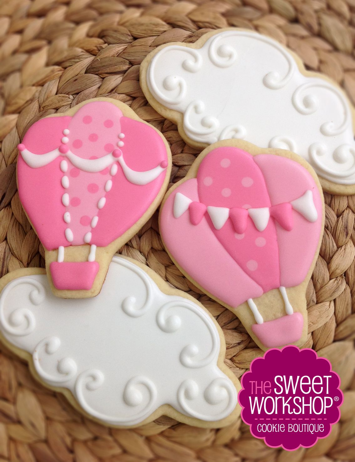Pink Hot Air Balloon Cookies https://www.facebook.com/thesweetworkshop