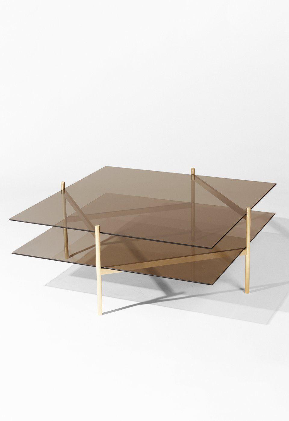 Duotone Diamond Coffee Table Brass Frame Bronze Glass Bronze