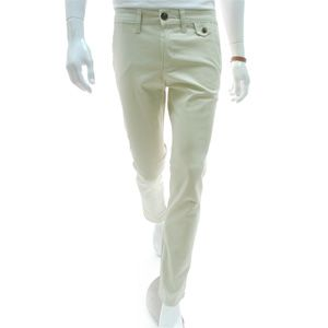 (VRP02-IVORY) Mens Casual Slim Straight Stretchy Cotton Pants