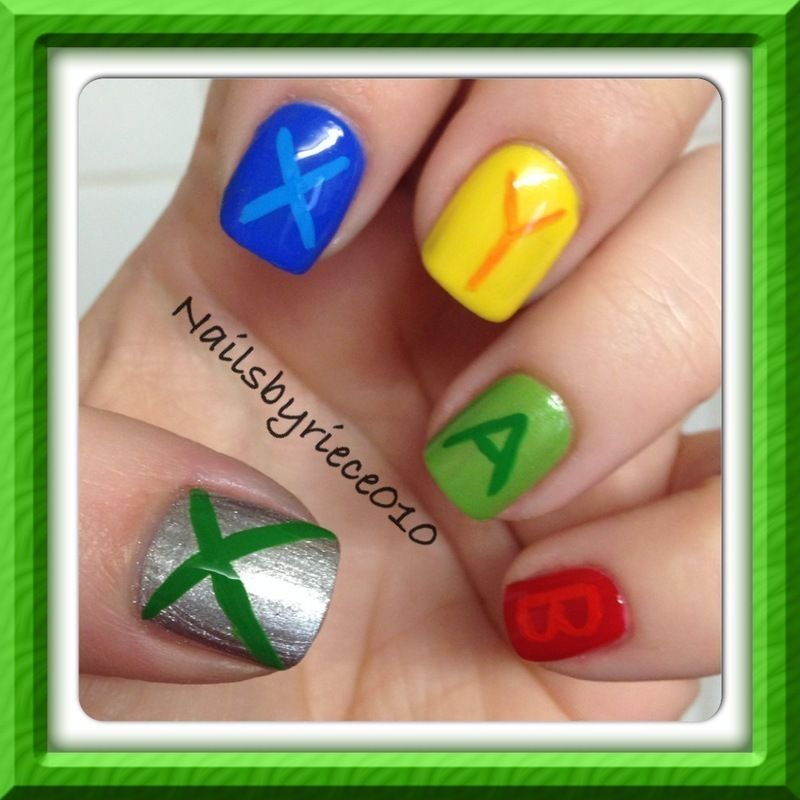Xbox, Gamer nails nail art by Riece - Nailpolis: Museum of Nail Art ...