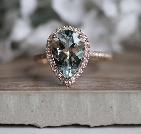 Natural Aquamarine and Diamond Engagement Ring, Pear 12x8mm Aquamarine Bridal Ring, 14k Rose Gold Diamond Wedding Band, Promise Ring #aquamarineengagementring