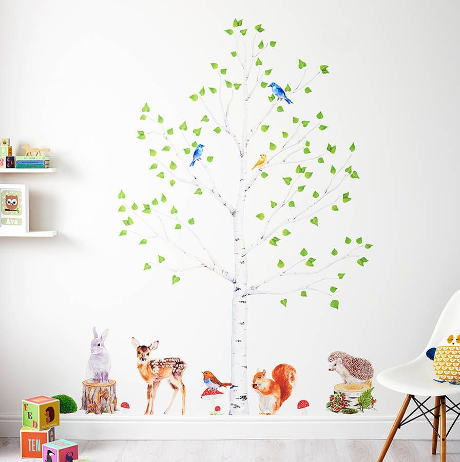 Woodland Nursery Wall Stickers, Animals And Tree Set Part 63