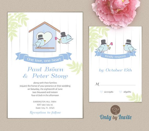 Wedding Invitation And Rsvp Card Set Same Love Birds Groom