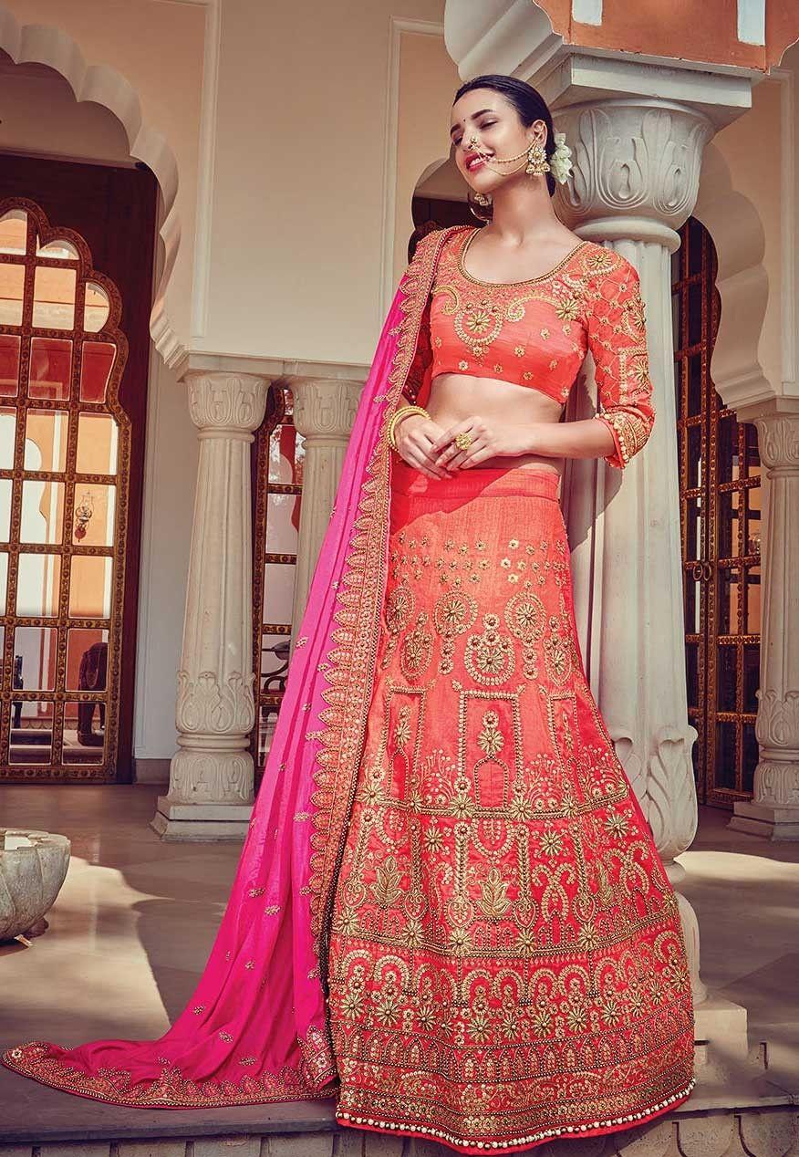 Orange jaipuri Rajwadi style Embroidered Lengha with contrast pink dupatta | Bridal lehenga ...