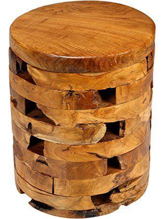 Bare Decor Stonehenge Artisan Accent Table in Solid Teak Wood ❤ Bare Decor