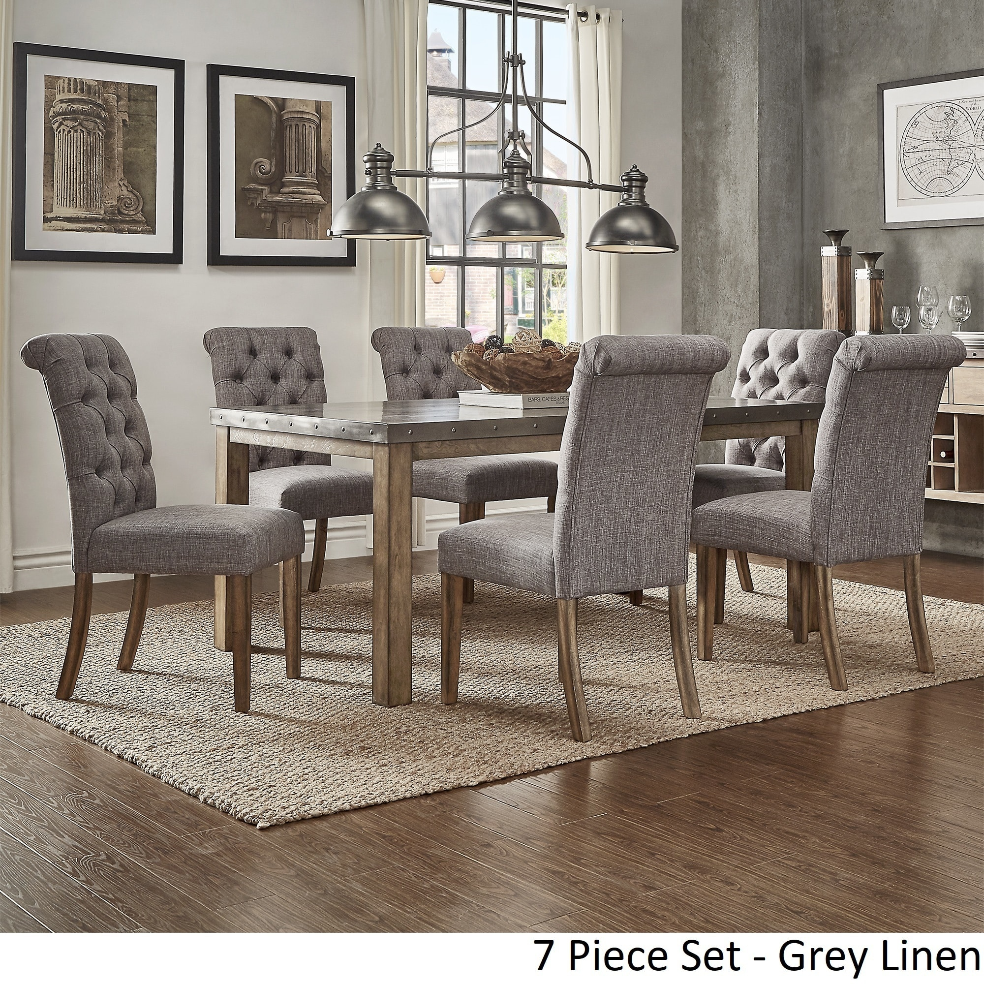 Cassidy Stainless Steel Top Rectangle Dining Table Set By Inspire