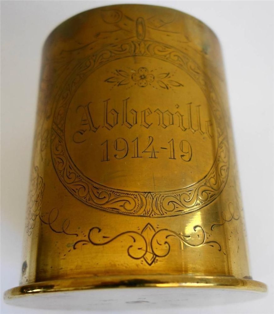 """WW1 Trench Art - Brass Shell Engraved With """"Abbeville 1914"""