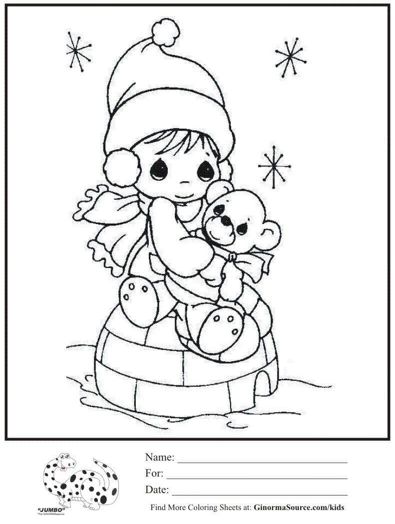 Kids coloring page precious moments igloo winter coloring sheet