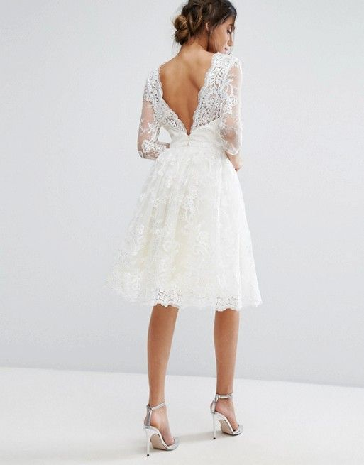 2d5a304056dd Chi Chi London Lace Midi Dress With Scallop V Back