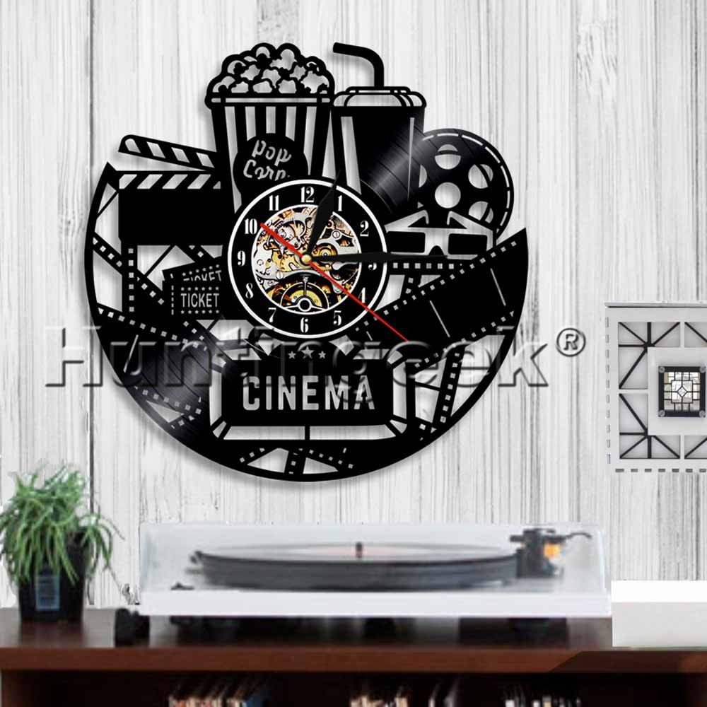 Theater Room Snack Bar: Home Theater Wall Sign Vinyl Record Wall Clock Movie