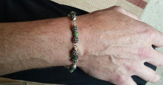 Man S Peridot Moldavite Bracelet