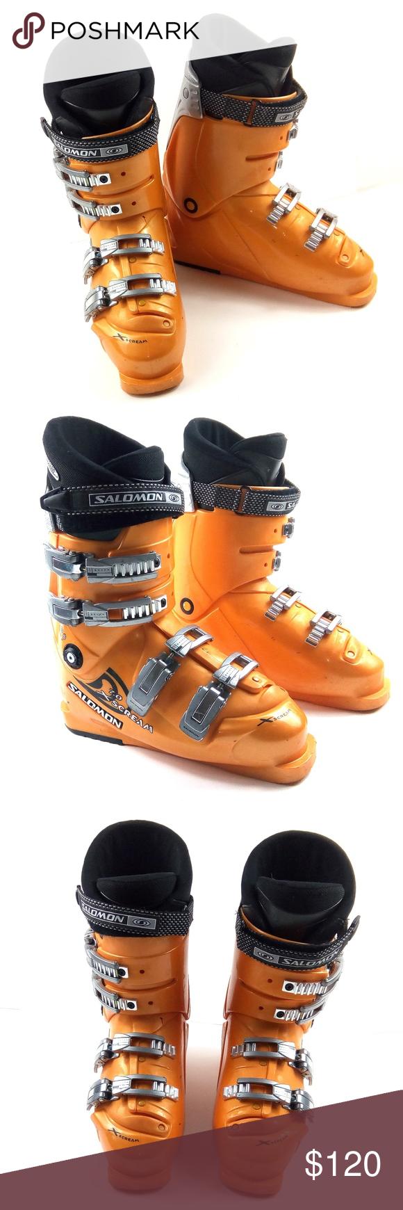 Salomon X Scream 7 0 Downhill Orange Ski Boots 8 5 In 2020 Orange Boots Ski Boots Winter Shoes