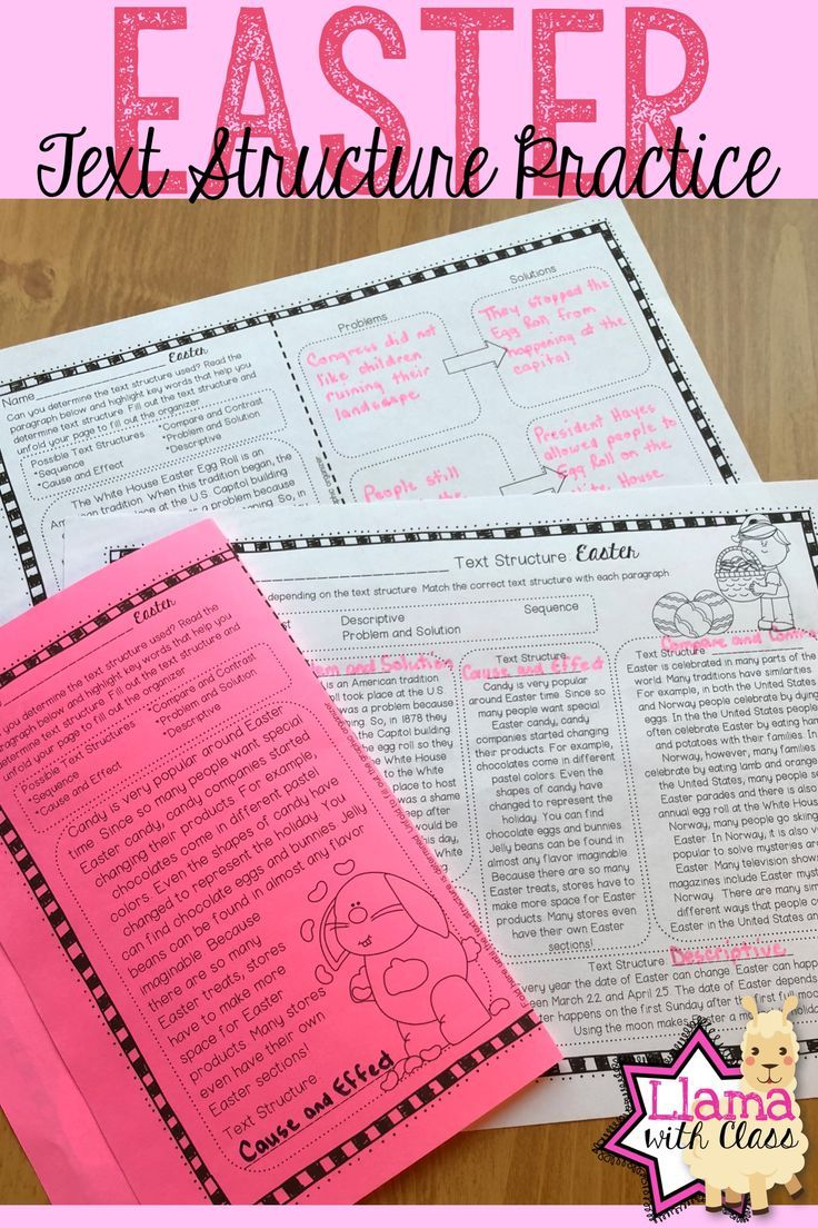 Workbooks text structure practice worksheets : Easter Text Structure Practice
