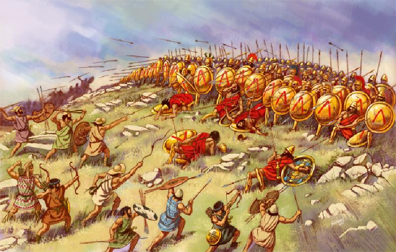Battaglia di Sfacteria in Messenia. La fanteria leggera  (peltasti e incursori) assalta la falange spartana