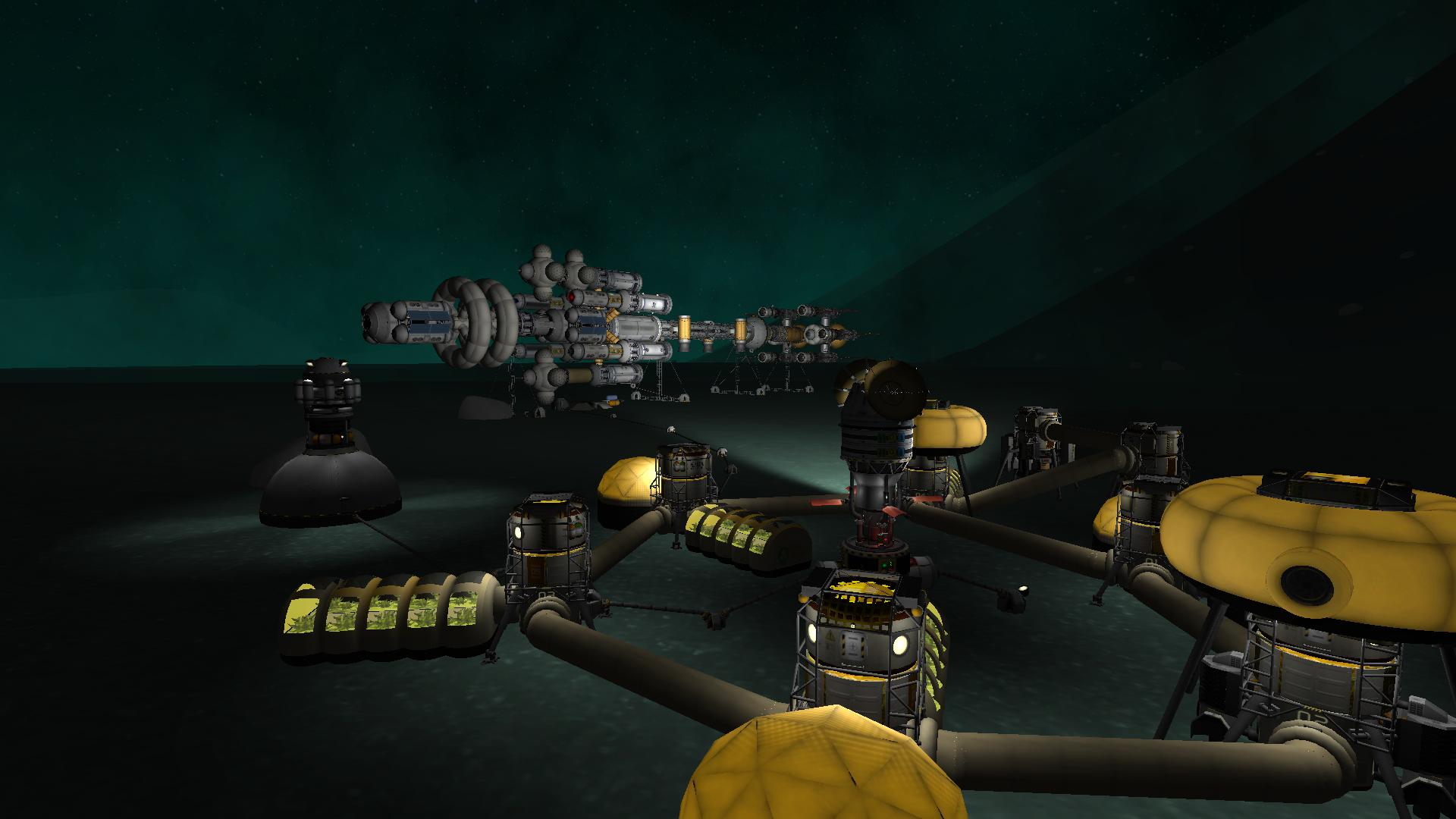 Colony ship with Minmusian base.   Kerbal space program