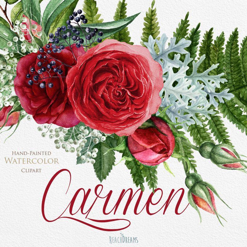 Mazzo Di Fiori Un Inglese.Matrimonio Watercolor Bouquets Rosa Inglese Fiori Brunia Fern