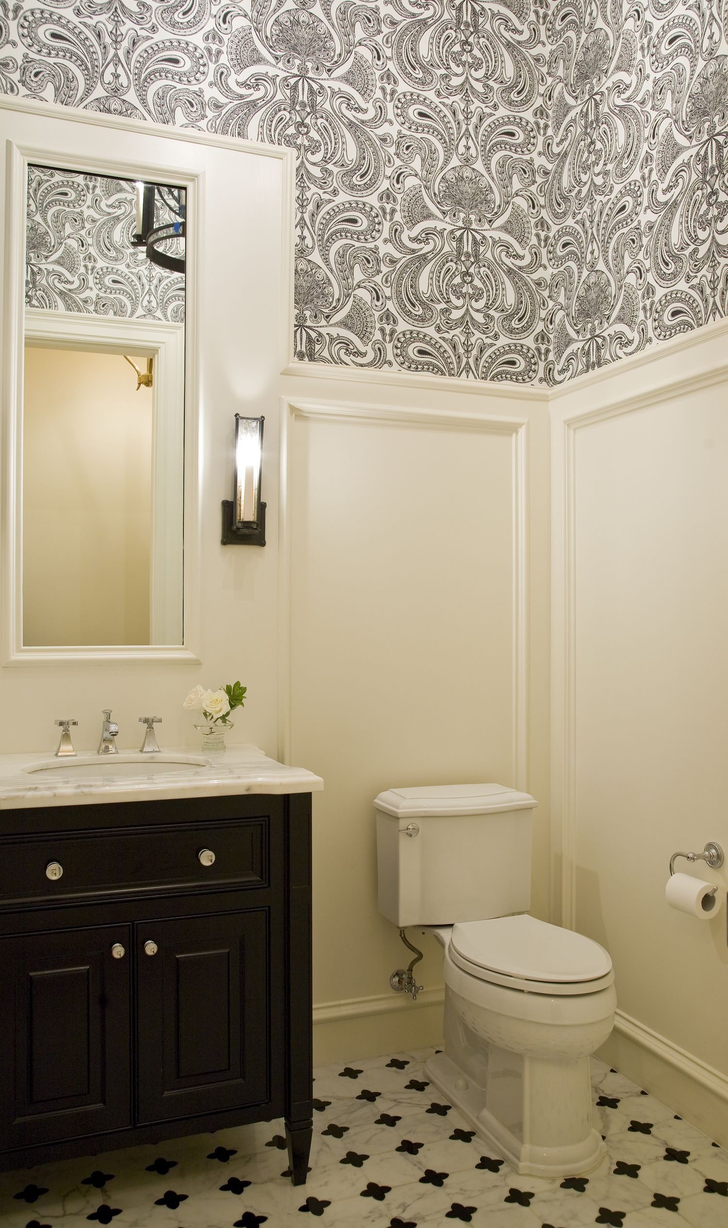 Black and White Guest Bathroom Design Austin Bean Design