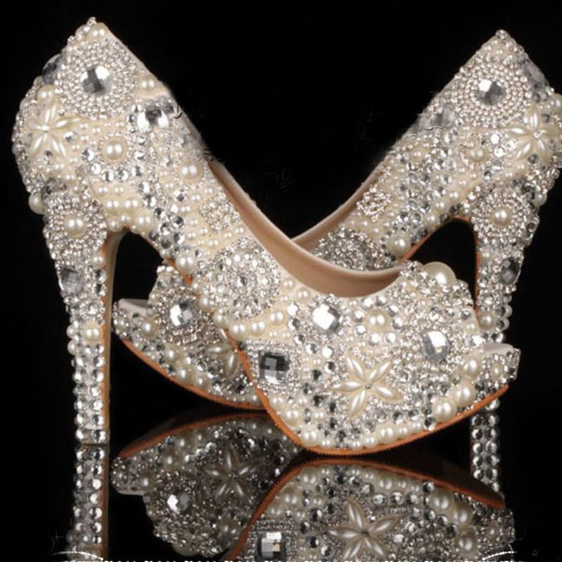 Shoes Strass On Sale At Reasonable Prices, Buy 2015 Unique Ivory Pearl Rhinestone  Wedding Dress Shoes Peep Toe High Heeled Bridal Shoes Waterproof Woman ...