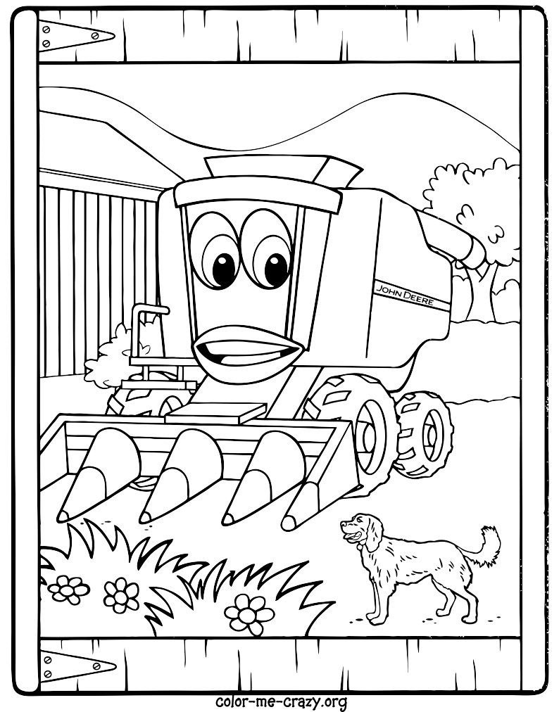 Coloring pages john deere printable birthday cake ideas for Tractor coloring pages to print