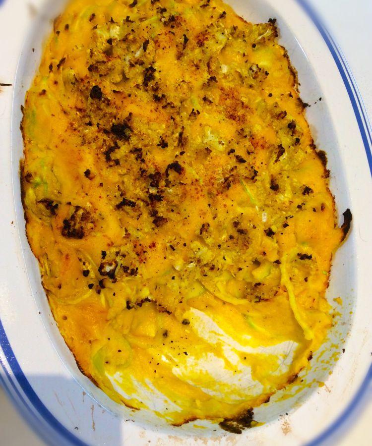 """Macaroni """"Cheese"""" , vegan, veggies & seasoning only, gluten, grain & nut-free. The macaroni is made of zucchini ."""