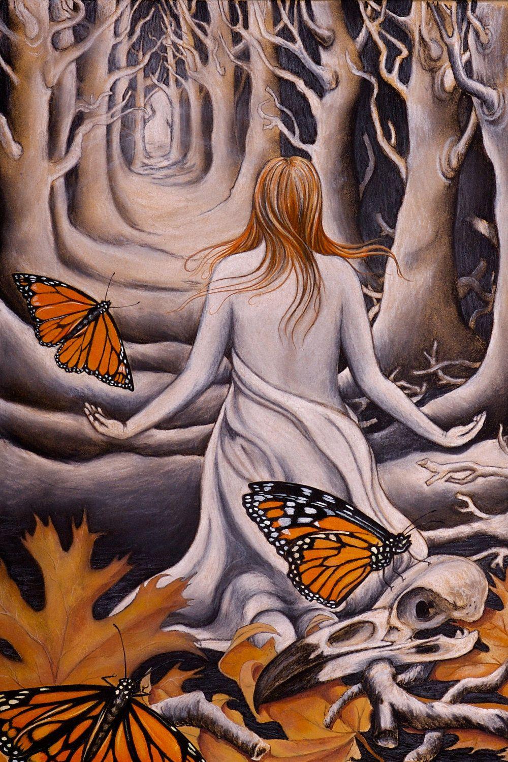 Monarch butterfliesoak leavesraven skulltreeswoman in nature monarch butterfliesoak leavesraven skulltreeswoman in natureflorafaunafallautumnbonesred hairportaldoorwaydeath charcoalgicle biocorpaavc Gallery
