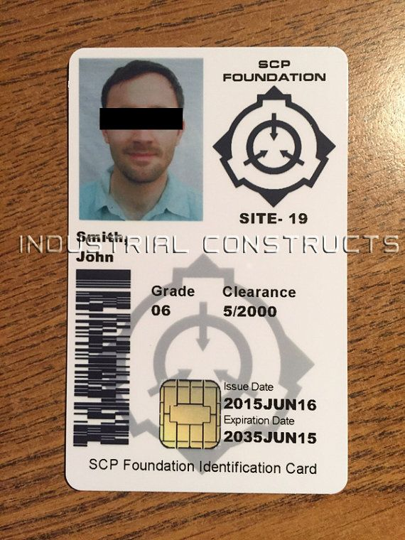 Scp Foundation Id Card Cac Style Customized With Your Etsy In 2021 Scp Cards Foundation