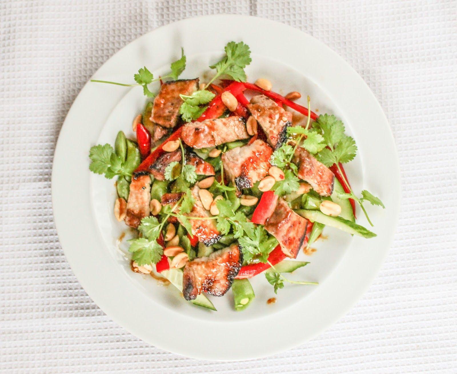 eat like you love yourself: Chopped Salad with Sticky Glazed Pork Belly