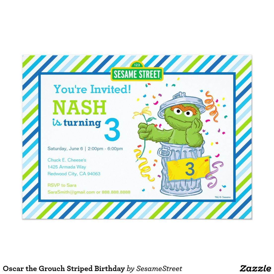 Oscar The Grouch Striped Birthday Card GrouchSesame Street
