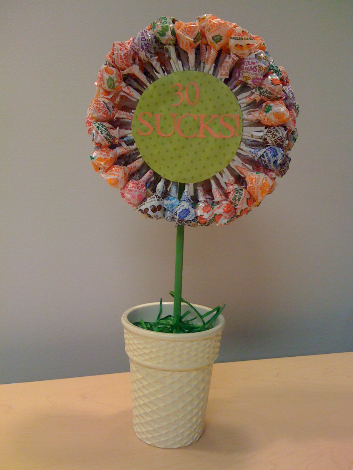 Lollipop topiary birthday gift first you then