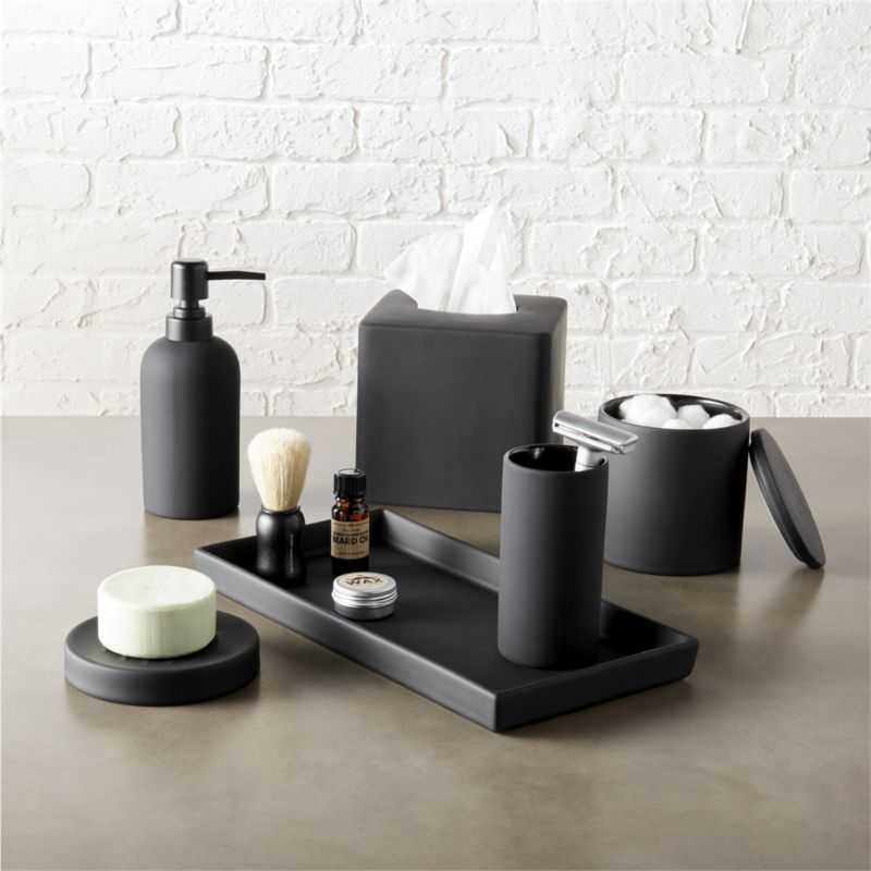 Rubber Coated Black Bath Accessories Tactile Stoneware Add A Modern Touch To The With Surprising Surface Of