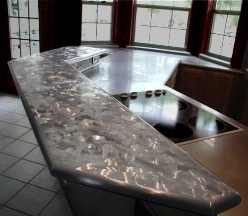 hammered stainless steel island top