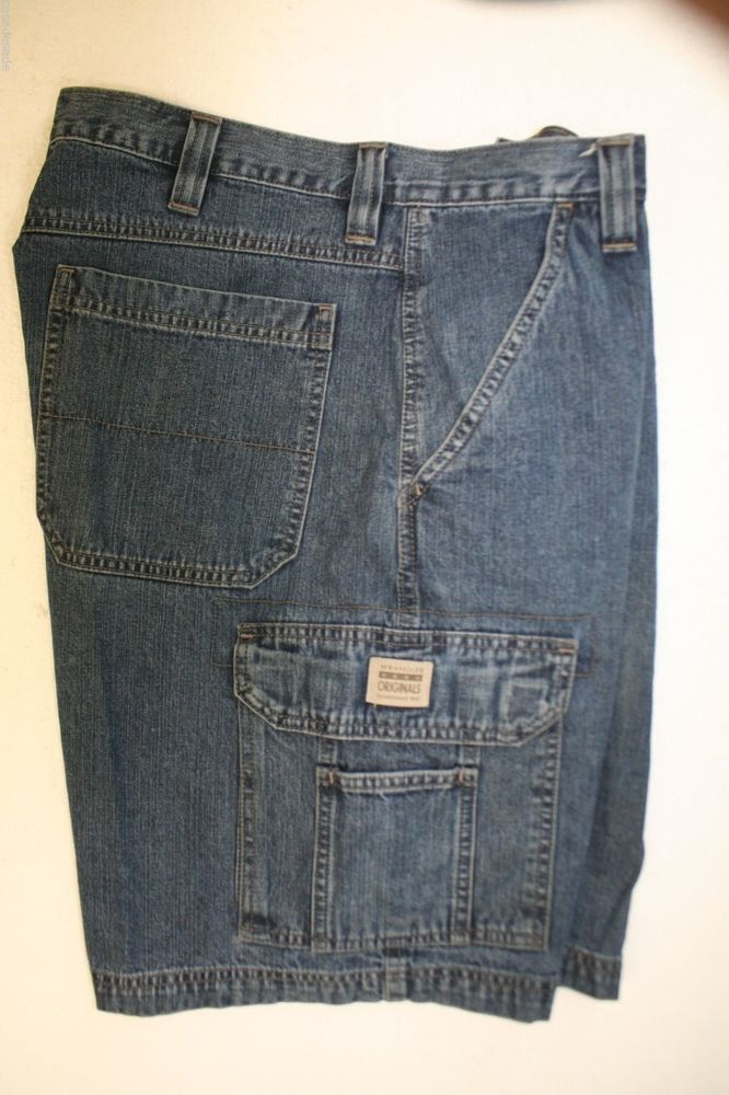 916a3126b9 Wrangler Hero Denim Cargo Shorts (Mens 34) Zipper Blue Jargo Work 2566  #Wrangler #Cargo