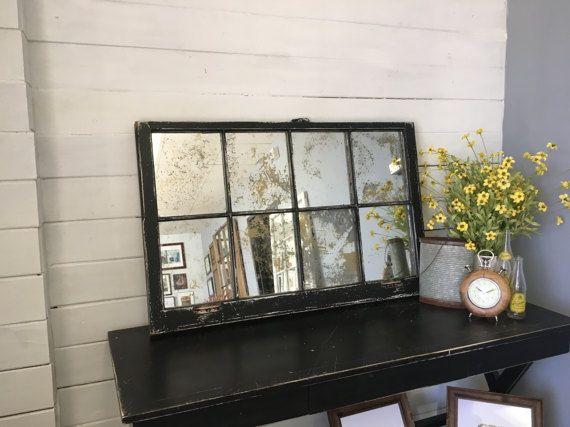 Black Mirror Black Window Mirror Black Rustic Antique Glass