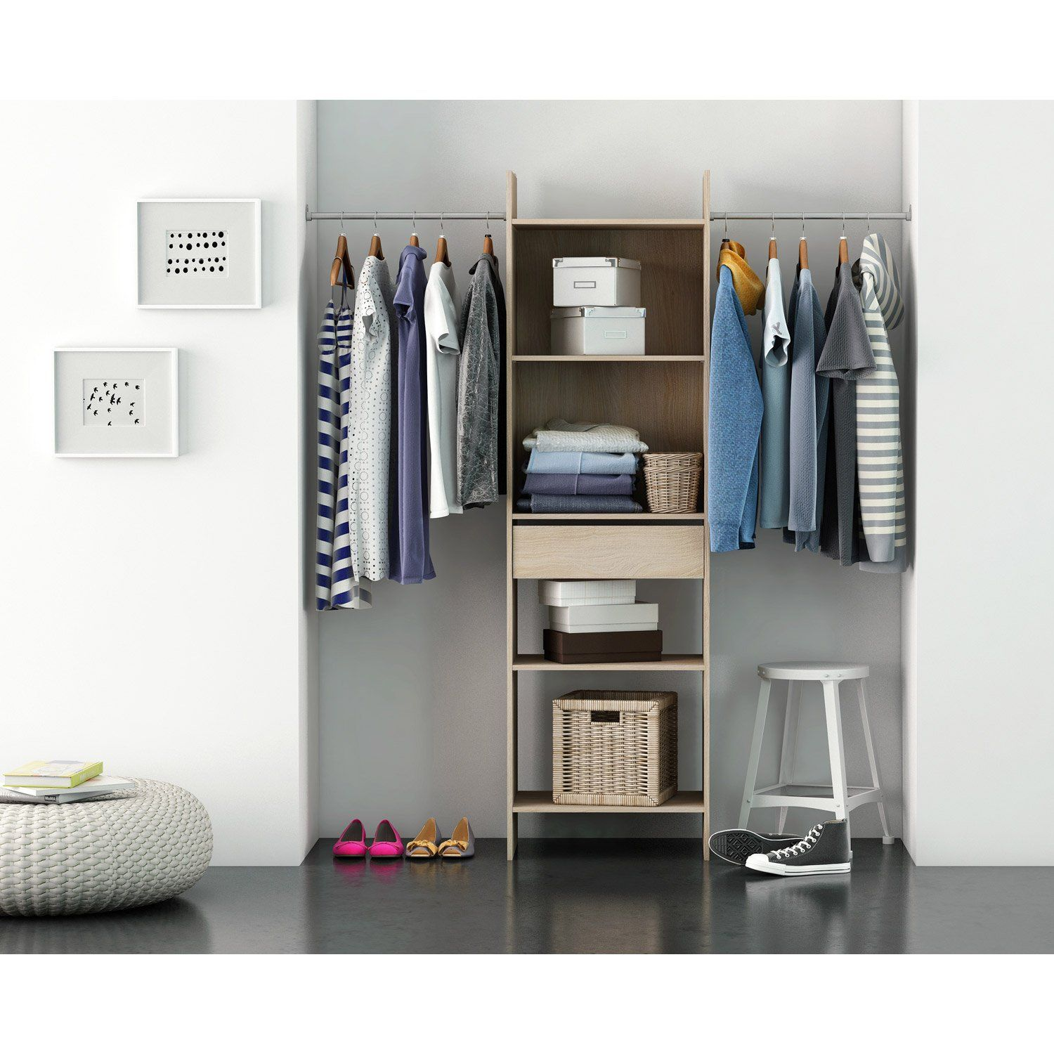 Dressing Spaceo Home Effet Chene Leroy Merlin Faire Un Dressing Idee Dressing Penderie