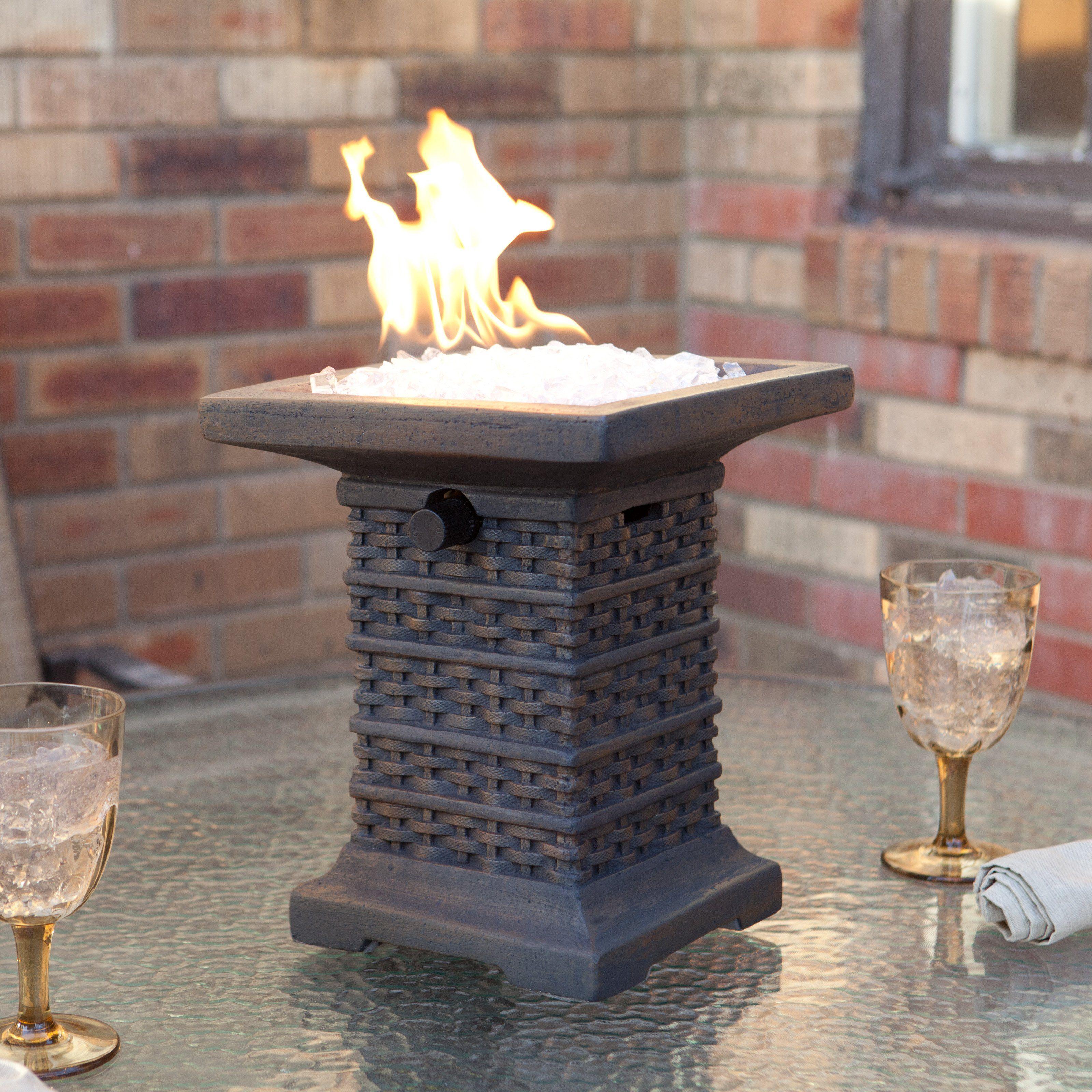 Tahiti wicker pattern table top propane fire bowl 86 99