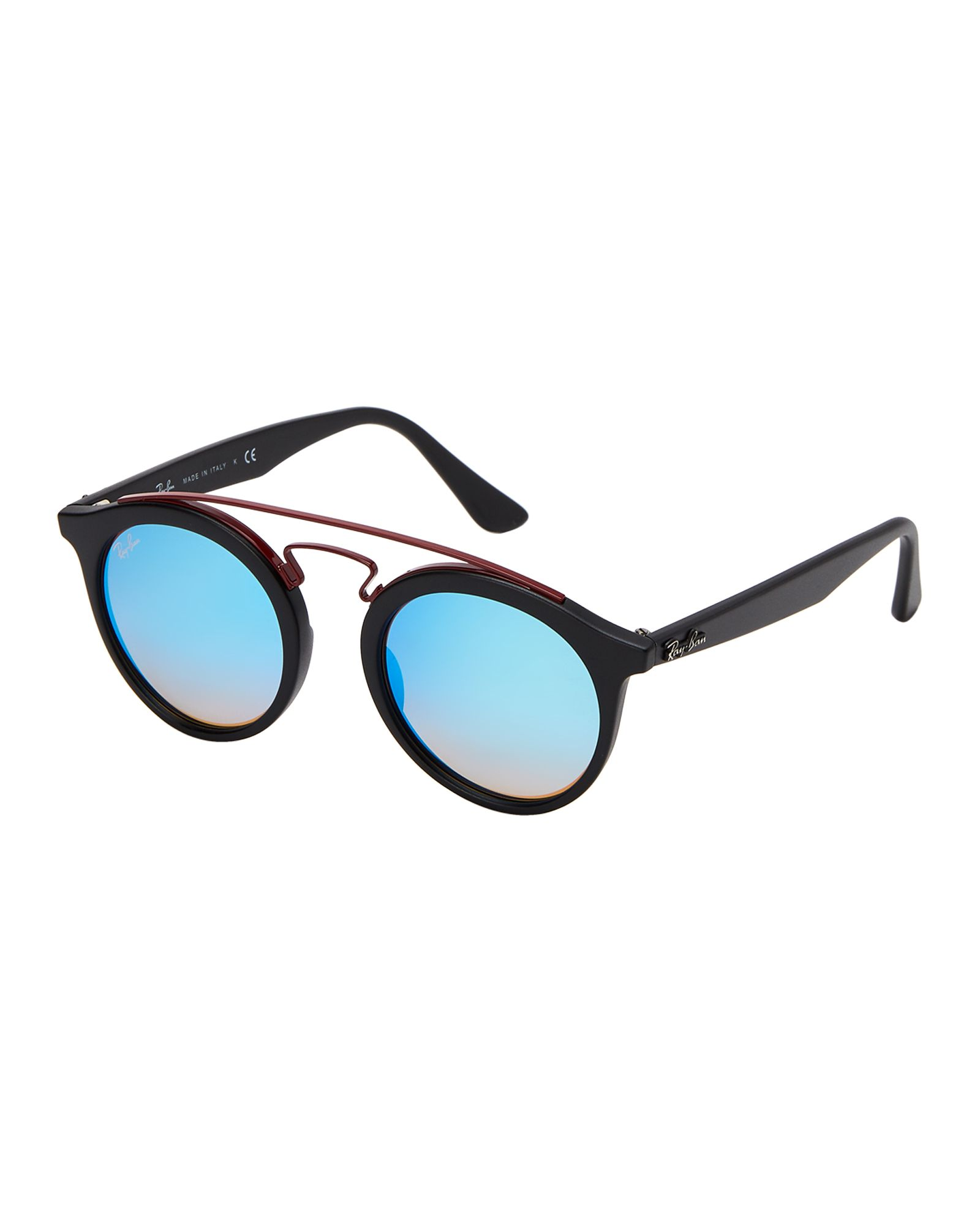 976c879335b Ray-Ban RB 4256 Matte Black   Blue Retro Round Sunglasses