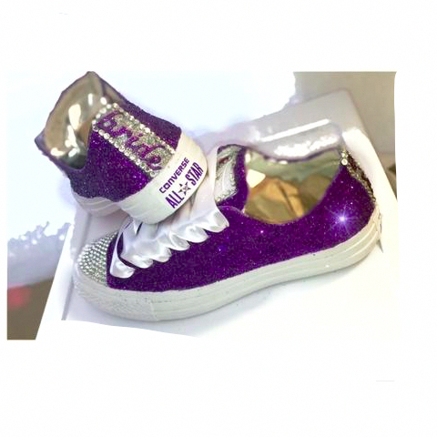 9dba9918f3ea Womens Glitter Bling Crystals Converse All Stars Purple Bride Wedding  bridal shoes Prom - Glitter Shoe Co  weddingshoes