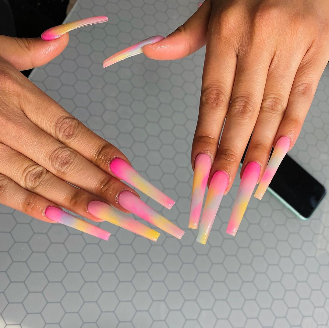 Lanece Renee On Instagram Xl Tye Dyeee Click The Link In My Bio To Book Your Appointment Text Long Acrylic Nails Pretty Acrylic Nails Glow Nails