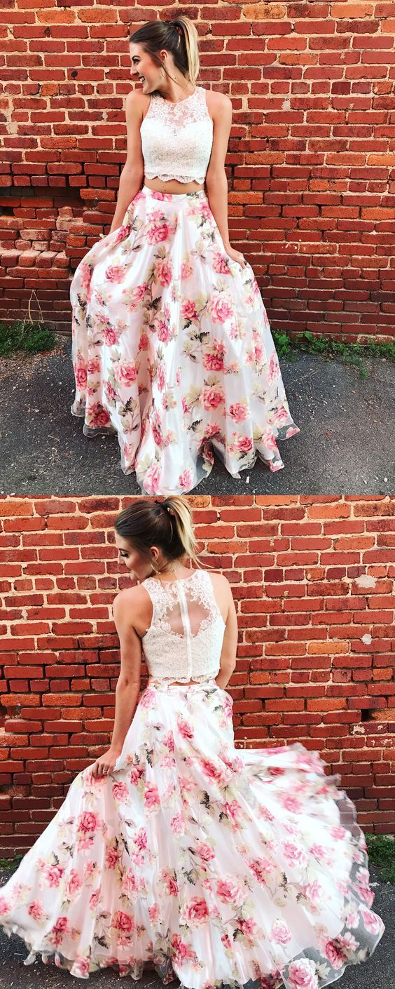 Two piece round neck floral chiffon prom dress with appliques prom